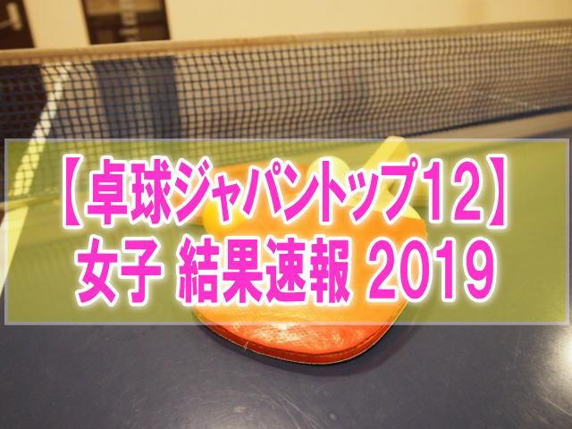 卓球ジャパントップ12大会2019女子結果速報!組み合わせ、試合日程、順位